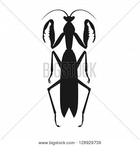 Nature black cartoon locust and cute flat grasshopper icon. Wild creature antenna invertebrate cute grasshopper agricultural zoo large green locust nature insect flat vector illustration