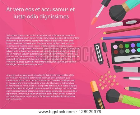 Colorful cosmetics concept with text. Vector illustration