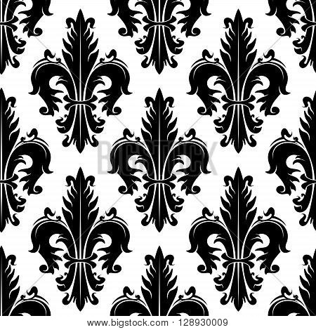 Black and white ornamental fleur-de-lis background for heraldry theme or vintage interior design with seamless pattern of fluffy spiky leaves with swirls