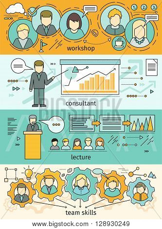 Banner set workshop and team skills. Business education, consulting and educational lectures. Team skills work. Teamwork development work and training, meeting and seminar. Vector illustration