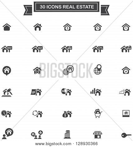 30 Real estate business industry and investment sign and symbol icon set create by vector