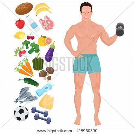 Handsome sport Health man. Lifestyle infographic vector illustration with icons