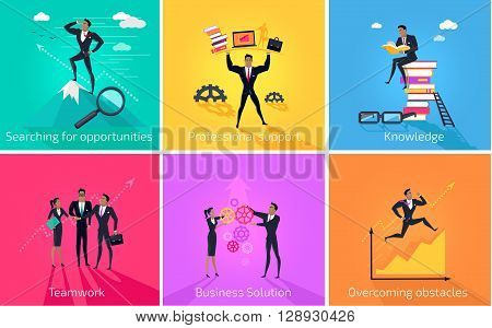 Business banner teamwork and solution. Success businessman searching for oppotrunities and professional support, knowledge and teamwork, business solution and overcoming obstacles. Vector illustration