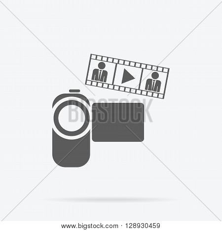 Camera app icon flat style design. Video camera icon, photo or video icon, cinema camera lens logo, video technology equipment, web lens photography, video flash zoom vector illustration