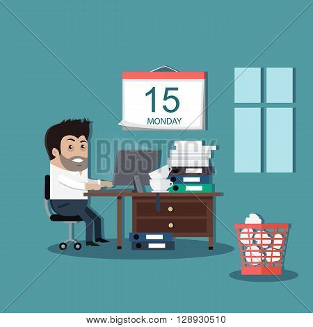 Deadline design concept interior man. Calendar deadline, time and time running out, timeline and due date, business work office deadline job vector illustration.Table on which many folders with paper