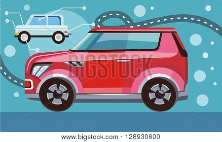 Flat 3d isometric high quality city transport icon. Sedan automobile. Car and sportscar, SUV luxury high class sedan. Red car on the highway. Vector illustration