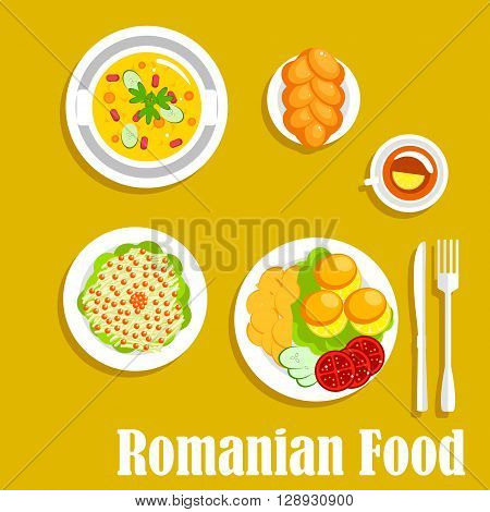 Romanian vegetarian dinner icon with cornmeal mush mamaliga served with fried potatoes and fresh tomatoes and cucumbers on the side, pickled cabbage salad, topped with cranberries fruits, vegetarian bean stew and cup of tea with braided bun. Flat style