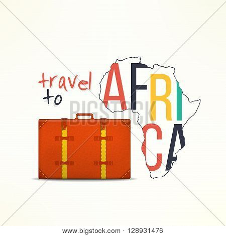 Travel to aftica concept. African traveler background. Africa map with traveling suitcase.