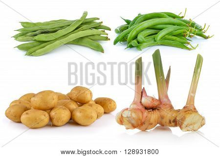 galangal potato beans isolated on a white background