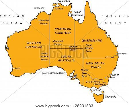 A detailed black & orange outline map of Australia on a white background. Includes states & major cities. Vector illustration may be edited and re-sized without loosing quality. Ideal as a teaching or tourism resource.