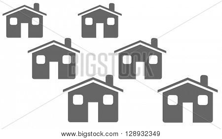 Illustrated street of houses on a white background.