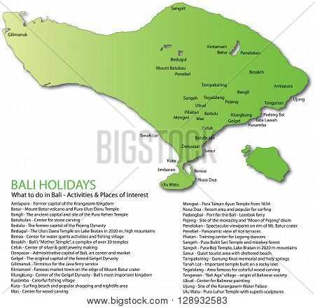 Green Bali map and a list of holiday activities and places of interest. Ideally suited as a travel tourism and education resource.