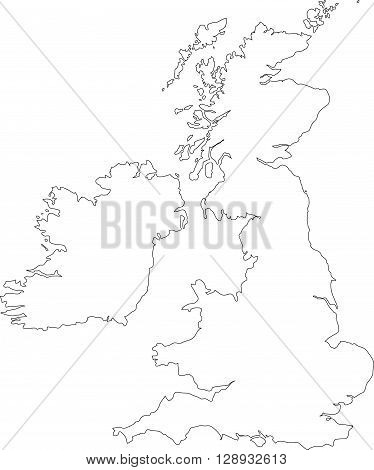 Black outline vector map of The British Isles illustration including England Scotland Wales & Ireland.