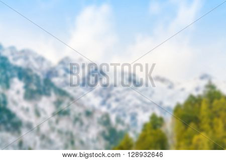 Abstract blur Japan Winter mountain with snow covered