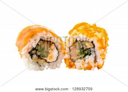 sushi isolated on white backgroundt, nobody, prawns,