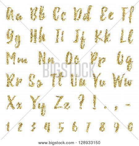 Gold dotted confetti alphabet isolated on white background. Letters numbers and punctuation marks. ABC poster. Calligraphic educational concept. Easy to use.