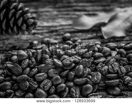 Close up Coffee beans on old wooden