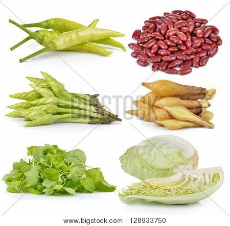 spinach Cabbage Moonflower red beans Fingerroot chili on white background