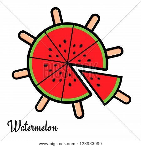 Sliced watermelon in flat style. Watermelon slices like ice cream with sticks. Fruit ice cream. Watermelon vector logo or icon. Isolated vector illustration on white background.