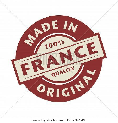 Abstract stamp or label with the text Made in France written inside, vector illustration