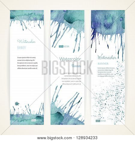 Set of hand painted watercolor vertical banners. Colorful abstract blue pastel brush stocks and splashes on a white backgrounds. Modern style graphic design template. Marketing concept.