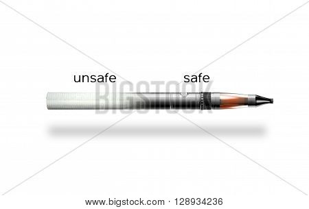 cigarette and e-cigarette isolated on white background