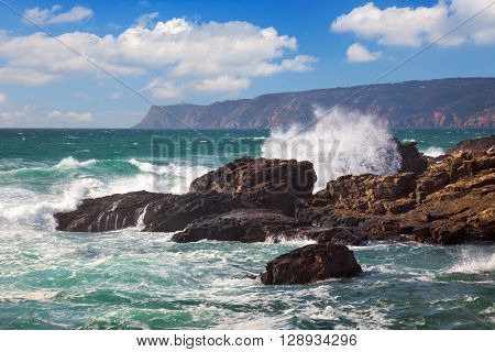 Powerful Ocean Waves crushing on a rocky coast, Portugal, Europe