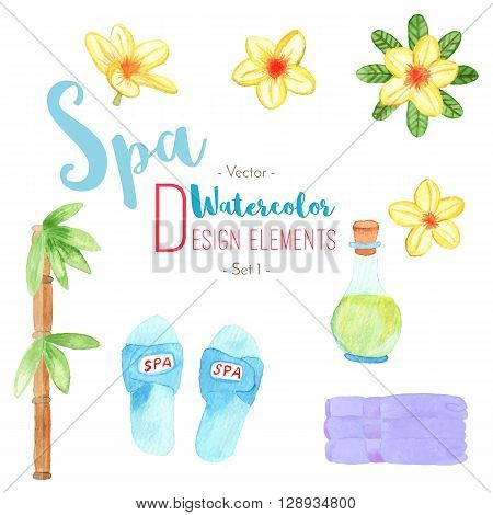Set of watercolor spa vector design elements isolated on white background. Slippers. Frangipani plumeria flowers. Bottle of oil. Bamboo. Stock of Rolled towels.