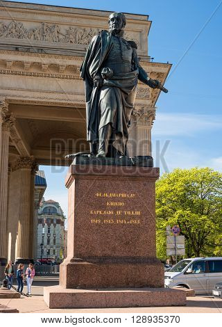 St. Petersburg Russia - May 8 2016: The monument to Barklay de Toli near Kazan Cathedral. Established in 1837 under the project of sculptor Orlovsky.