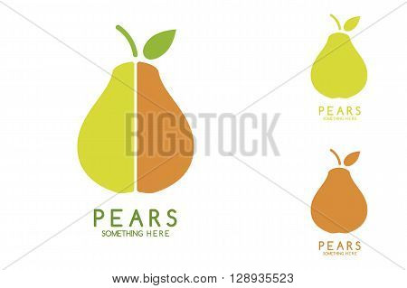 Pears vector isolated. Pears icon. Pears logo. Pears with green leaf isolated. Nature Pears logotype. Fruits and vegetables.
