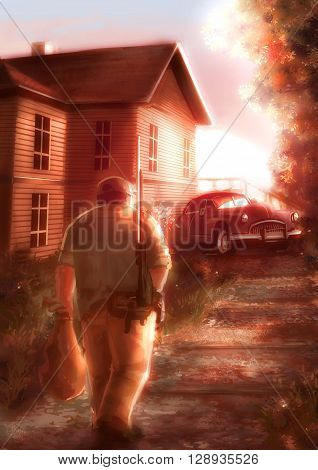 Cartoon illustration of a male hunter walking back home in sunset scene background