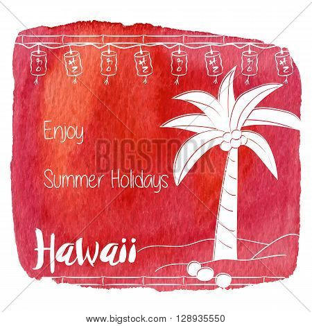 Coconut palm tree bamboo and lanterns. Enjoy Summer Holidays on abstract hand painted watercolor blot. Red banner flyer. Colorful vector template. Tropical summer graphic design for woman t shirt.