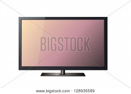 Black TV illustration art on white background