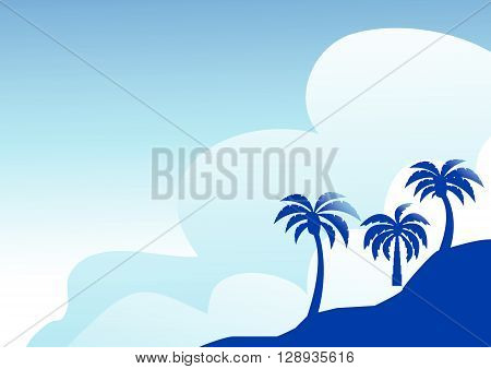 Summer color background with palm trees on the beach