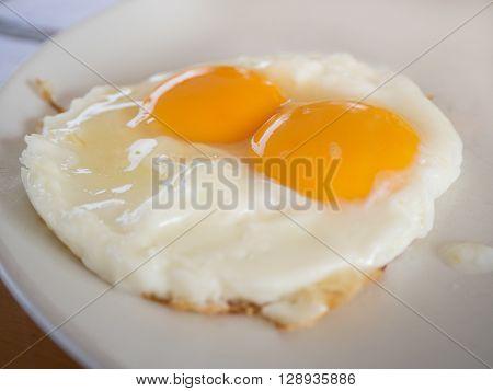 Hot Fried eggs raw yolk in Breakfast