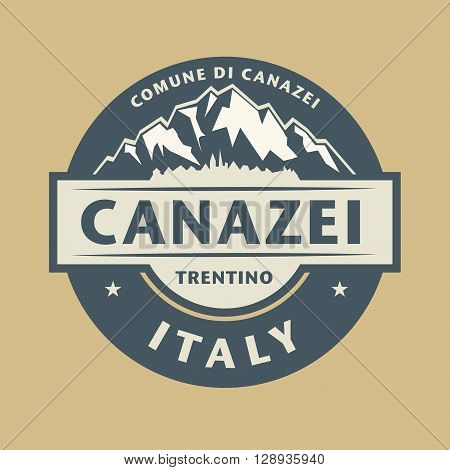 Abstract stamp with the name of town Canazei in Italy, vector illustration