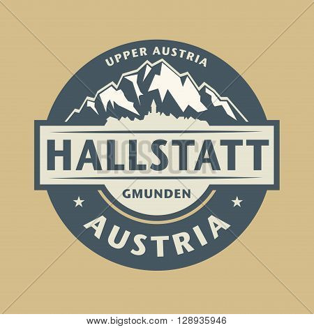 Abstract stamp with the name of town Hallstatt in Austria, vector illustration