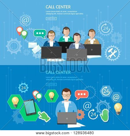 Technical support call center service flat banner vector illustration