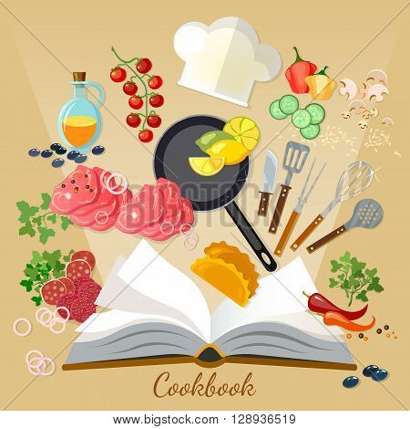 Cookbook flat style cooking food creative cooking vector illustration