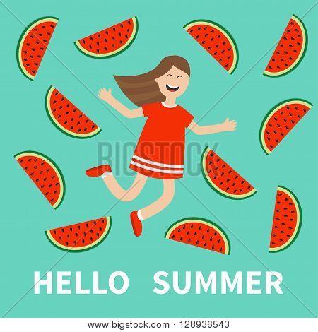 Girl jumping Hello summer greeting card. Happy child jump. Cute cartoon laughing character in red dress Watermelon slice background. Smiling woman. Flat design Vector illustration