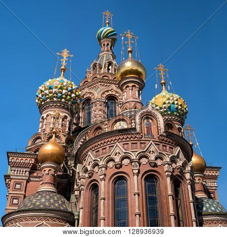 Church of the Savior on Spilled Blood. Dome closeup. Saint Petersburg, Russia.