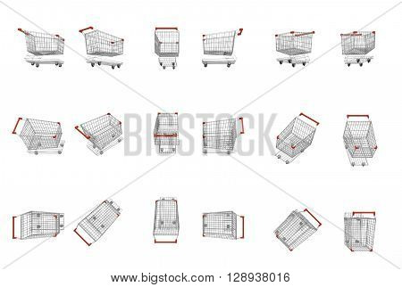 empty supermarket carts with red plastic handles different view 3D Rendering