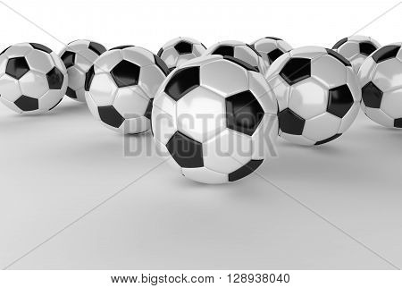 many soccer ball on white ground 3D Rendering