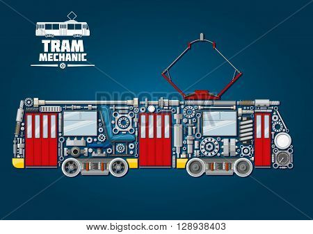 Town tram mechanics icon for public transportation service design usage with tramcar made up of mechanical gears, doors and windows, pantograph and motor bogies, steel wheels and absorbers, axles and bearings, headlights, valves and gauges