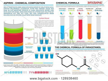 Comparison infographics of chemical formulas and compositions of aspirin and paracetamol. For pharmaceutical presentation or health care theme design with colorful divided bar graph and histogram in forms of laboratory test tubes and pill