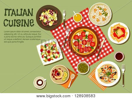 Italian picnic dishes icon with flat symbols of pizza, ravioli and mushroom risotto, warm octopus salad and seafood pasta topped with shrimps, mussels, squid and clams, vegetable salad with mozzarella and croutons, green olives and panna cotta dessert