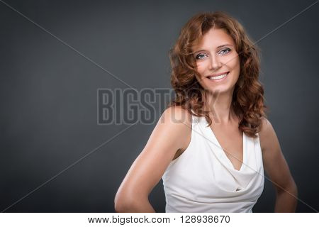 beautiful young woman in studio