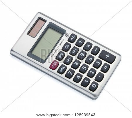 Small digital calculator. Isolated on white backgound