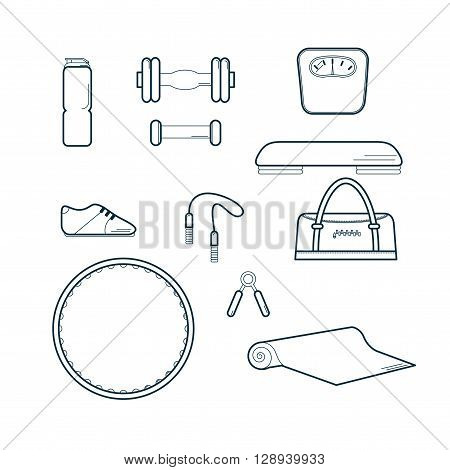 Set of Fitness Icons Vector Illustration/ Vector Gym set