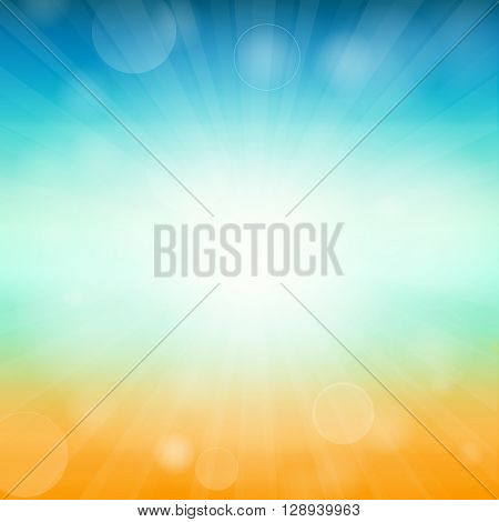 Summer time background - illustration. Vector illustration of a glowing Summer time background